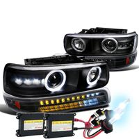 HID Xenon + 99-02 Chevy Silverado / Suburban Tahoe LED Projector Headlights + LED Bumper Lights - Black