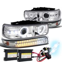 HID Xenon + 99-02 Chevy Silverado / Suburban Tahoe LED Projector Headlights + LED Bumper Lights - Chrome