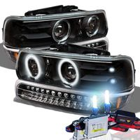 HID Xenon + 99-02 Chevy Silverado / Tahoe / Suburban Angel Eye Halo Projector Headlights + LED Bumper Lights - Black