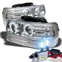 HID Xenon + 99-02 Chevy Silverado / Tahoe / Suburban Angel Eye Halo Projector Headlights + LED Bumper Lights - Chrome