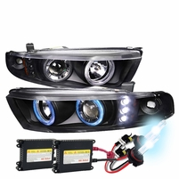 HID Xenon + 99-03 Mitsubishi Galant Angel Eye Halo LED Projector Headlights - Black