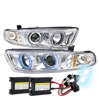 HID Xenon + 99-03 Mitsubishi Galant Angel Eye Halo LED Projector Headlights - Chrome