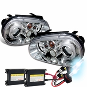 HID Xenon + 99-03 Volkswagen Golf / Jetta MK4 Angel Eye Halo Projector Headlights - Chrome