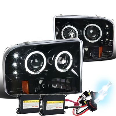 HID Xenon + 99-04 Ford F250-F450 SuperDuty LED DRL / Halo Projector Headlights - Gloss Black / Clear
