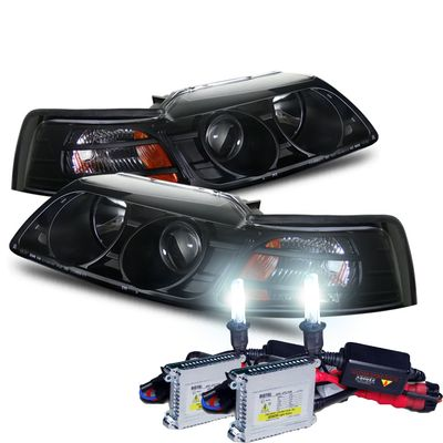 HID Xenon + 99-04 Ford Mustang 1-Pc Projector Headlights - Black
