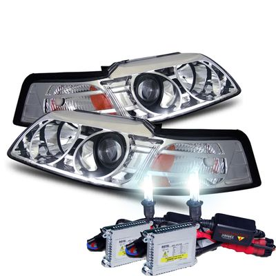 HID Xenon + 99-04 Ford Mustang 1-Pc Projector Headlights - Chrome