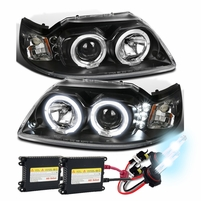 HID Xenon + 99-04 Ford Mustang Angel Eye Halo & LED Projector Headlights - Black