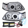 HID Xenon + 99-04 Ford Mustang Angel Eye Halo & LED Projector Headlights - Chrome