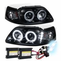 HID Xenon + 99-04 Ford Mustang Angel Eye Halo & LED Projector Headlights - Gloss Black