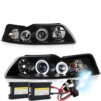 HID Xenon + 99-04 Ford Mustang Angel Eye Halo Projector Headlights - Black