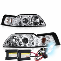 HID Xenon + 99-04 Ford Mustang Angel Eye Halo Projector Headlights - Chrome