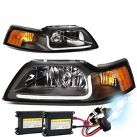 HID Xenon + 99-04 Ford Mustang LED DRL Bar Headlights - Black / Amber