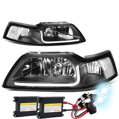 HID Xenon + 99-04 Ford Mustang LED DRL Bar Headlights - Black / Clear