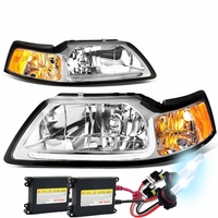 HID Xenon + 99-04 Ford Mustang LED DRL Bar Headlights - Chrome / Amber
