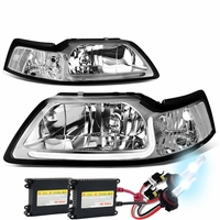 HID Xenon + 99-04 Ford Mustang LED DRL Bar Headlights - Chrome / Clear