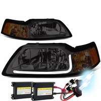HID Xenon + 99-04 Ford Mustang LED DRL Bar Headlights - Smoked / Amber