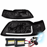 HID Xenon + 99-04 Ford Mustang LED DRL Bar Headlights - Smoked / Clear