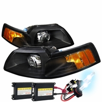 HID Xenon + 99-04 Ford Mustang [Retro Style] Projector Headlights - Black