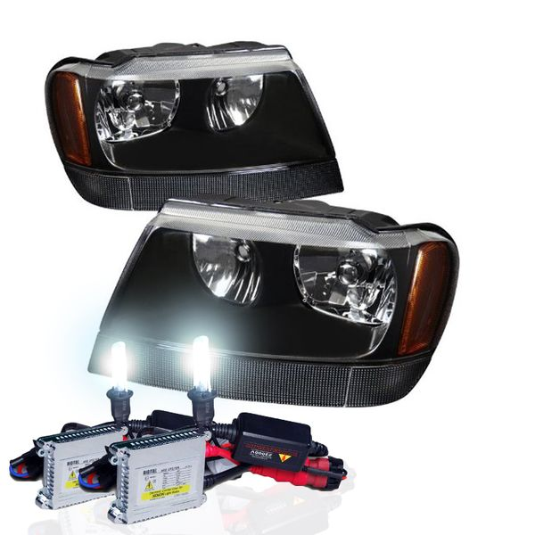 HID Xenon + 99-04 Jeep Grand Cherokee Crystal Replacement Headlights - Black