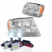 HID Xenon + 99-04 Jeep Grand Cherokee Crystal Replacement Headlights - Chrome