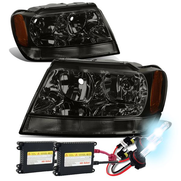 HID Xenon + 99-04 Jeep Grand Cherokee Crystal Replacement Headlights - Smoked