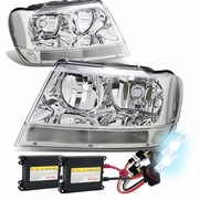 HID Xenon + 99-04 Jeep Grand Cherokee Replacement Crystal Headlights - Chrome Clear