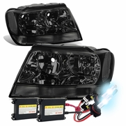 HID Xenon + 99-04 Jeep Grand Cherokee Replacement Crystal Headlights - Smoked Clear