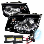 HID Combo 99-04 VW Jetta R8 Style LED DRL Projector Headlight Glossy Black