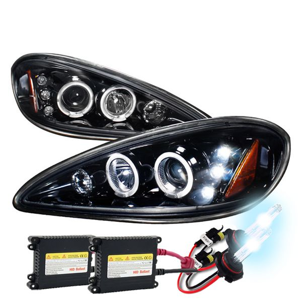 HID Xenon + 99-05 Pontiac Grand AM Angel Eye Halo & LED Projector Headlights - Gloss Black