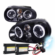 HID Xenon + 99-05 Volkswagen Golf / GTI MK4 Angel Eye Halo Projector Headlights - Gloss Black