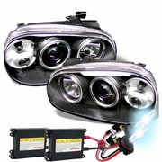 HID Xenon + 99-05 Volkswagen Golf / Jetta MK4 Angel Eye Halo Projector Headlights - Black