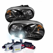 HID Xenon + 99-05 Volkswagen Golf / Jetta MK4 LED DRL Projector Headlights - Black