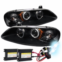 HID Xenon + Chrysler Sebring 01-03 / Dodge Stratus 01-06 Angel Eye Halo Projector Headlights - Black