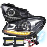 HID Xenon + DEPO 12-14 Benz W204 C-Class Projector Headlights [LED Signal] - Black