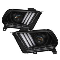 [HID / Xenon Model] 2013-2014 Ford Mustang LED Sequential Tube Projector Headlights - Black