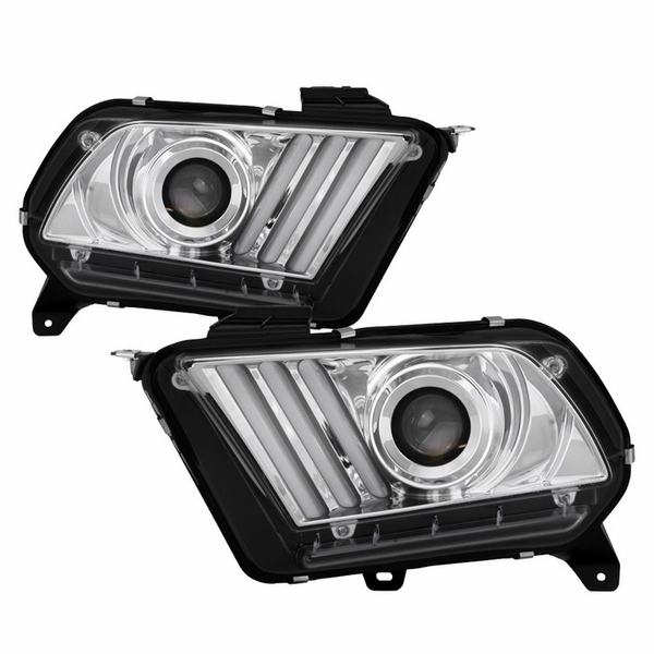 [HID / Xenon Model] 2013-2014 Ford Mustang LED Sequential Tube Projector Headlights - Chrome