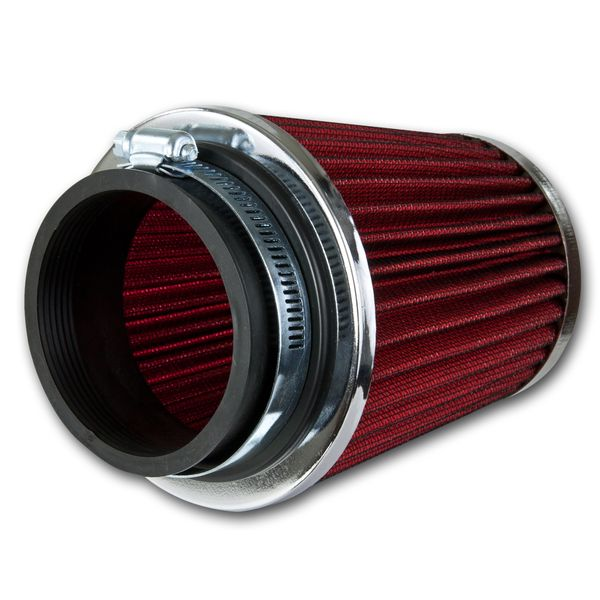 High Flow Air Filter - 3.00 Inch Inlet - Replacement Round Tapered Flat Top - Red