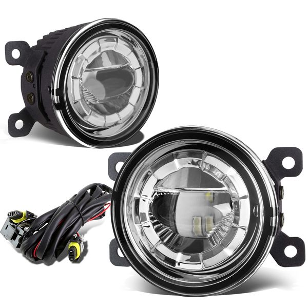 "Honda / Acura / Subaru 3.5"" Round LED Round Replacement Projector Fog Lights - Clear Lens  261508993B, NI2590103, 19056100"