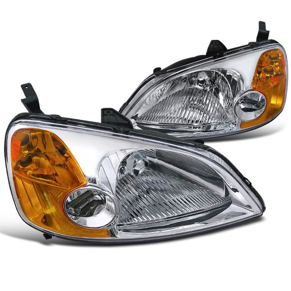 01-03 Honda CIvic EM ES JDM Style Headlights - Chrome Amber