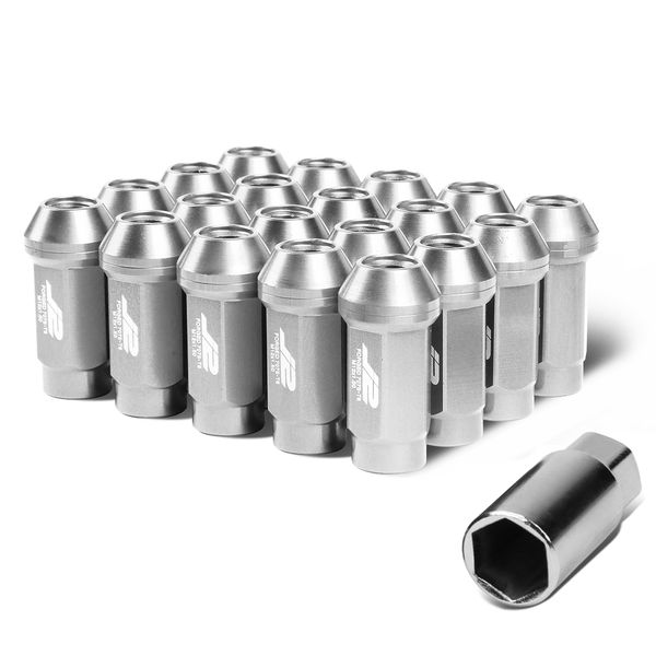 J2 Engineering 7075 Aluminum M12 x 1.5 25mm OD/50mm 20x Lug Nuts + 1x Key Silver