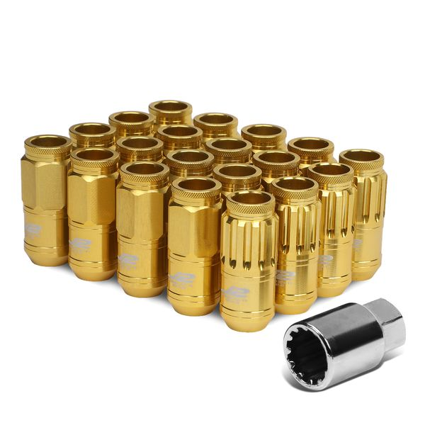 J2 Engineering 7075 Aluminum M12x1.5 20mm OD/50mm 16xLug Nut + 4xLock+Key Gold