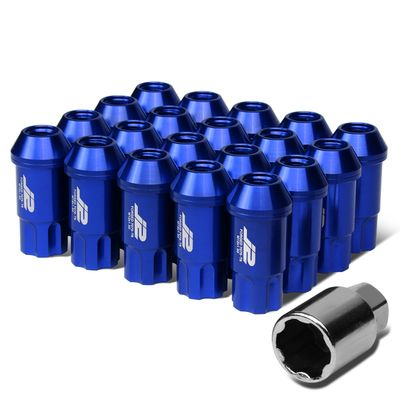 J2 Engineering 7075 Aluminum M12x1.5 25mm OD/50mm 20x Lug Nuts+1x Adapter Blue