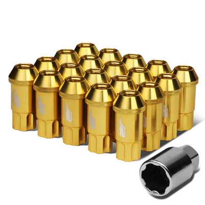 J2 Engineering 7075 Aluminum M12x1.5 25mm OD/50mm 20x Lug Nuts+1x Adapter Gold