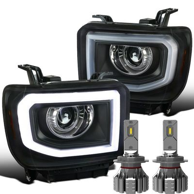 LED Headlights + 14-15 GMC Sierra 1500 / 15-16 2500 3500 LED Switchback DRL / Signal Projector Headlights - Black