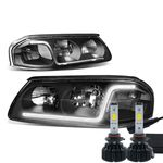 LED Low Beam + 00-05 Chevy Impala LED DRL Tube Crystal Headlights - Black / Clear