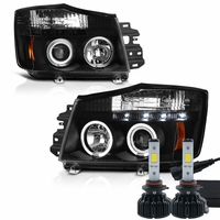 LED Low Beam + 04-14 Nissan Titan / 04-07 Armada  Dual Halo & LED Projector Headlights - Black