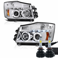 LED Low Beam + 04-14 Nissan Titan / 04-07 Armada  Dual Halo & LED Projector Headlights - Chrome