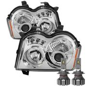 Cree LED Low Beam + 05-07 Jeep Grand Cherokee Dual Halo & LED Projector Headlights - Chrome