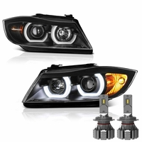 Cree LED Low Beam + 06-08 BMW 3-Series E90 4DR LED Halo Projector Headlights - Black