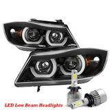 LED Low Beam + 06-08 BMW 3-Series E90 4DR LED Halo Projector Headlights - Black